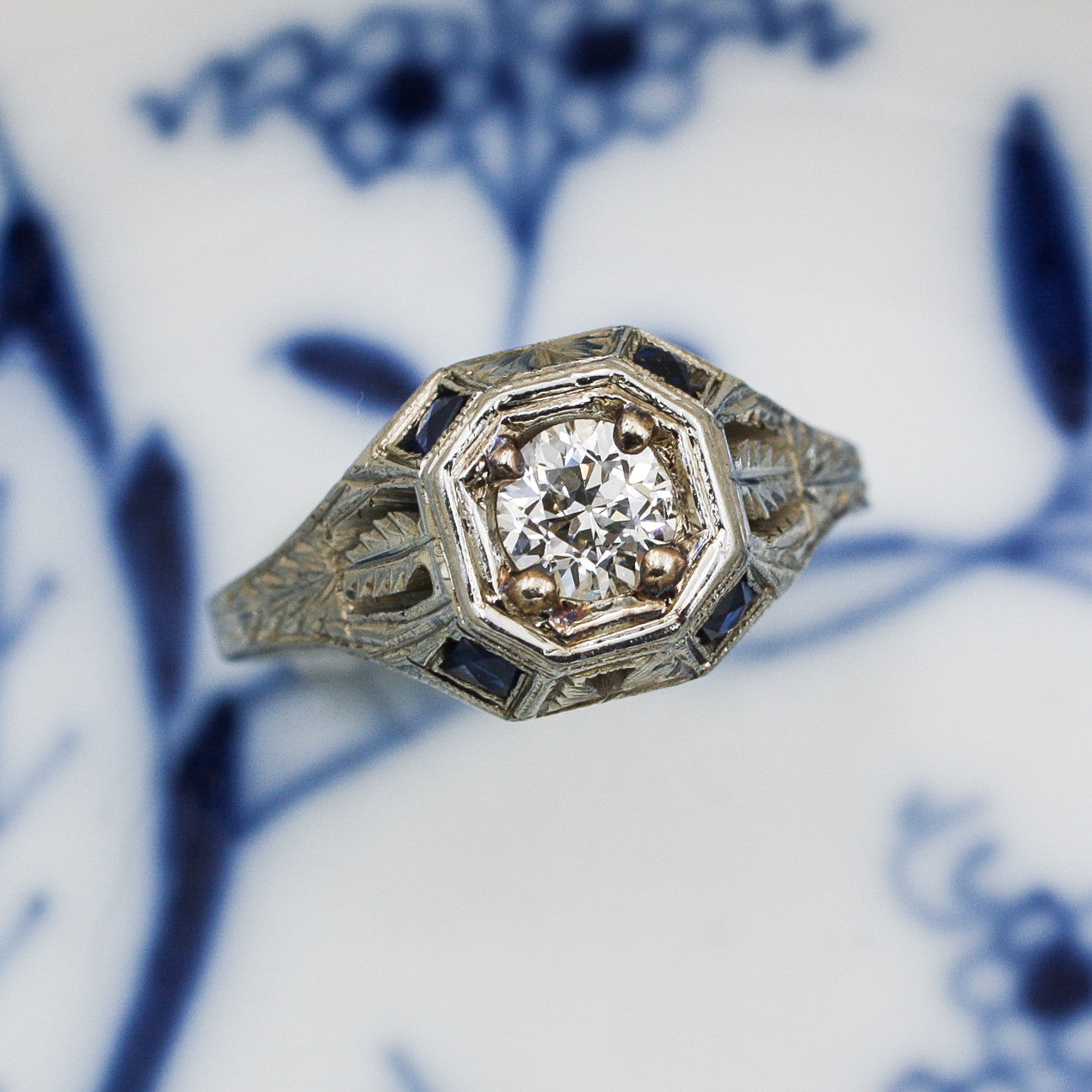 1920s 18k Transitional Cut Diamond Ring with Sapphires