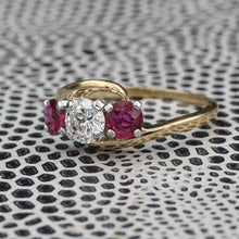 Diamond and Fine Ruby Three Stone Ring c1940