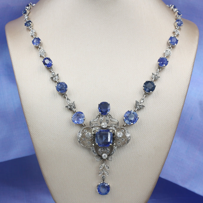 Natural Ceylon Sapphire and Diamond Necklace c1910