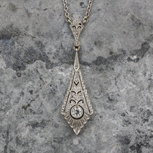 c1920 .12ct Transitional Cut Diamond 18k Filigree Pendant