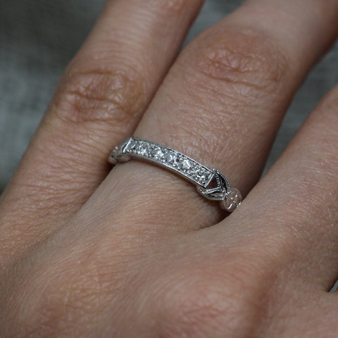 1920s-40s Handmade Platinum Diamond Band