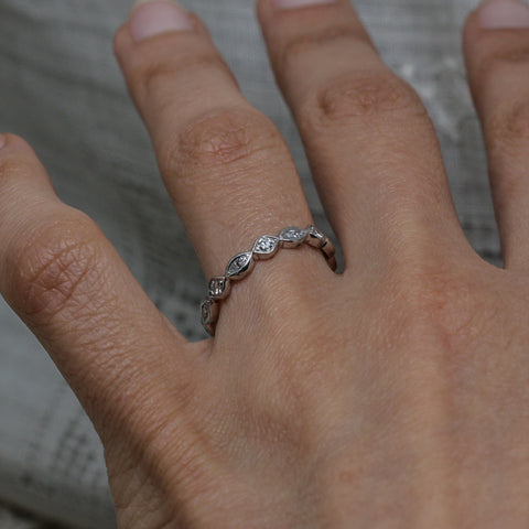 1930s-50s Handmade Platinum Diamond Eternity Band