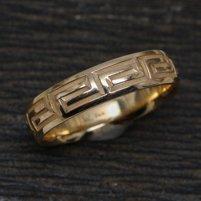 Greek Key Design Gold Band