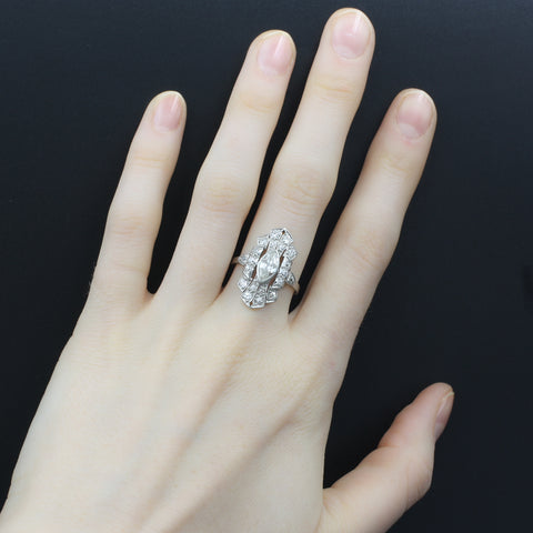 Deco Marquise Diamond Dinner Ring