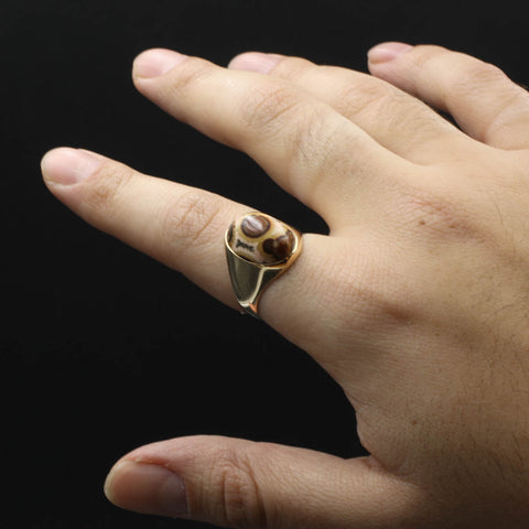 Agatized Dinosaur Bone Ring c1980