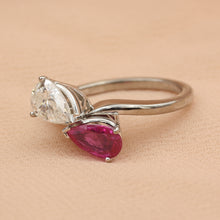 Kissing Pears Diamond and Ruby Ring c1950