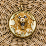c1880 Rare Gold-filled and Paste Lion Locket