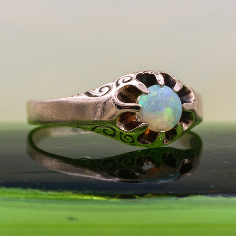 c1890 Ripley Howland and Co. Opal Belcher Ring