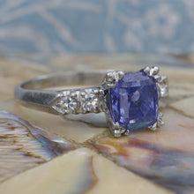 Antique Untreated Color-Change Sapphire in 1940s Ring