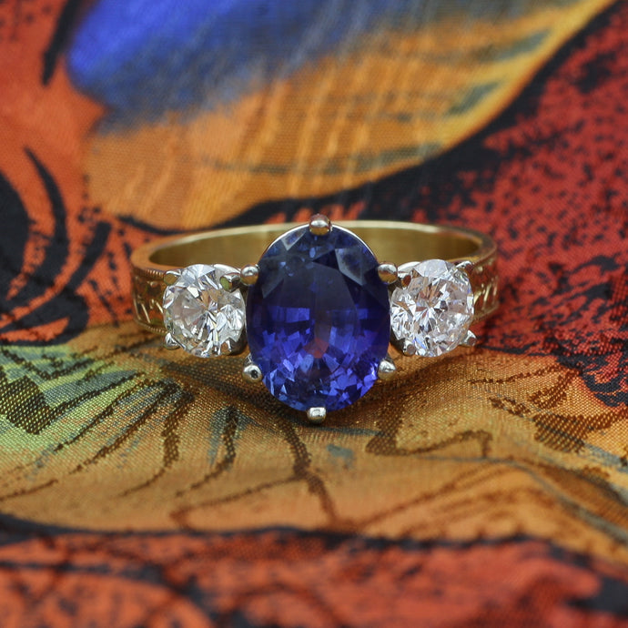 Certified Untreated No Heat Ceylon Sapphire Ring c1980