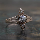 c1890 Rose Gold Diamond Ring