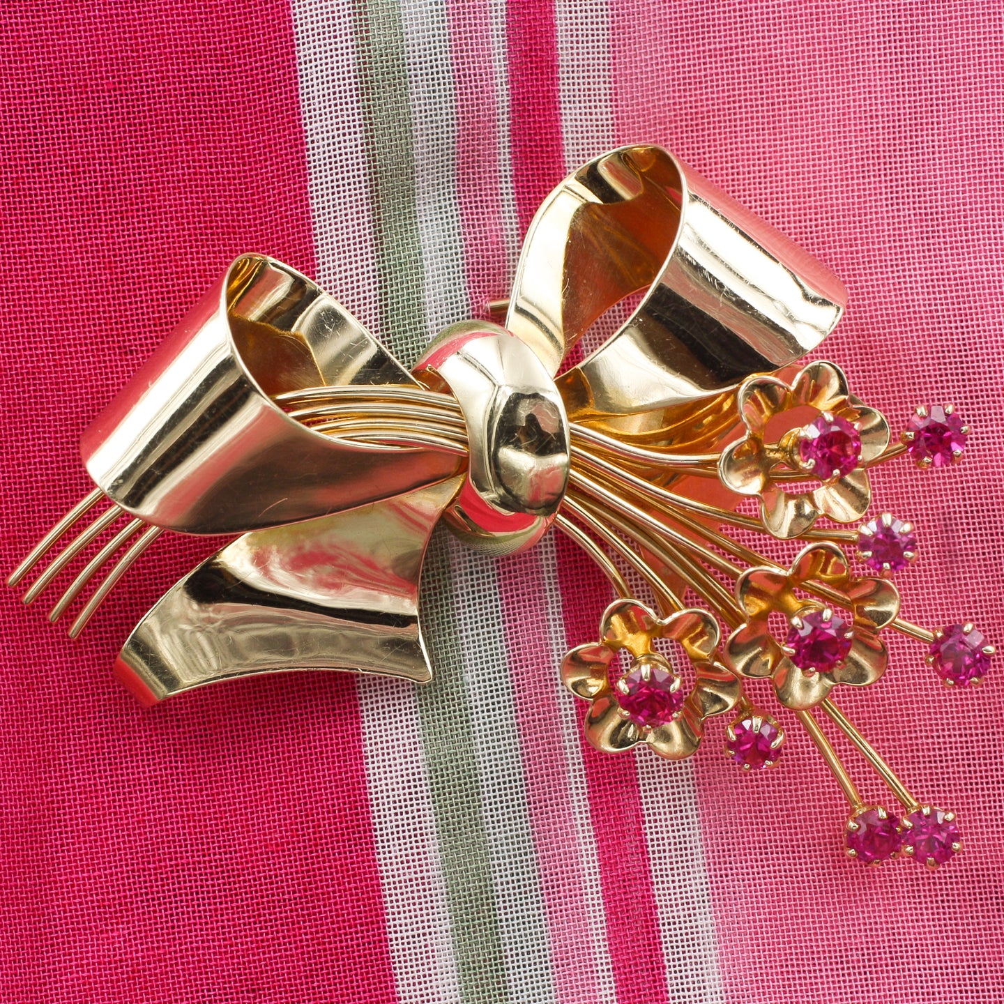 Retro Ruby Floral Bow Brooch c1940