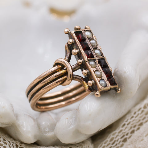 1880s Rose Gold Garnet and Pearl Ring