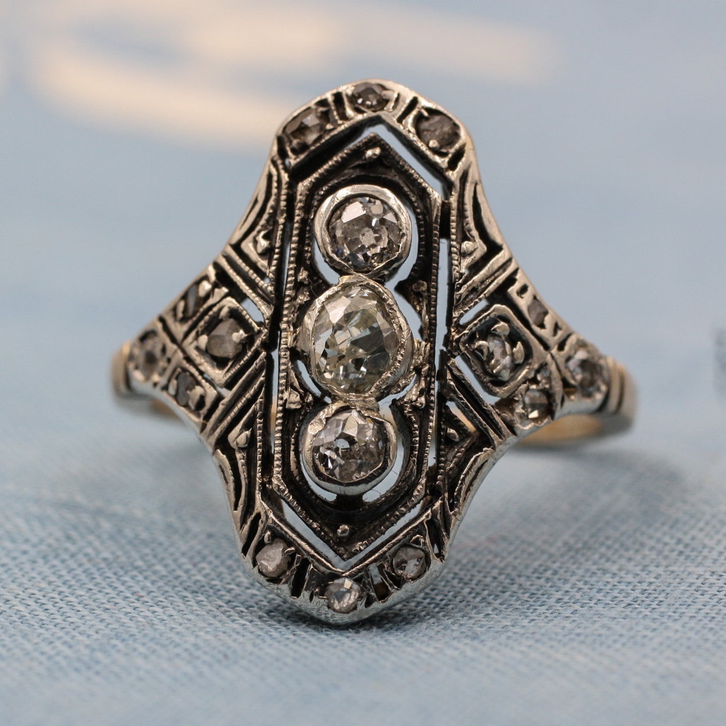 c1870 Diamond Two-tone Dinner Ring