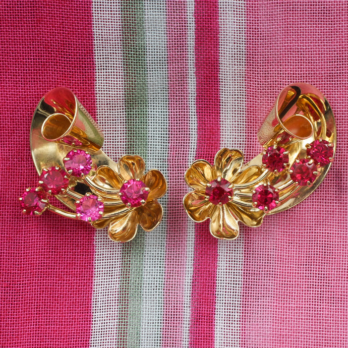 Retro Ruby Flower Earrings c1940