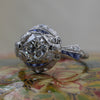 1920s Platinum 1.12ct Certified Diamond Bow Detail Ring