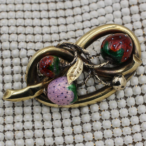 c1880 Guilloché Strawberries Pin