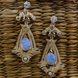 c1900 Opal and Diamond Drop Earrings