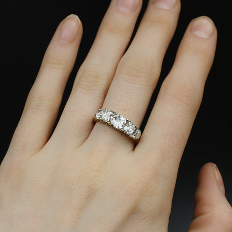 Antique Cut Diamond 5 Stone Band c1910