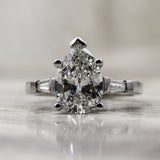 1950s 2.70ct Pear Cut Diamond Ring