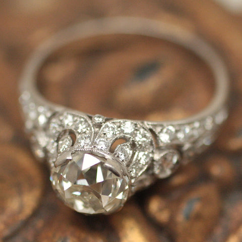 Circa 1920 Handmade Platinum & Diamond Ring
