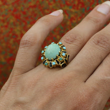 1930s-50s Turquoise and Enamel Cocktail Ring