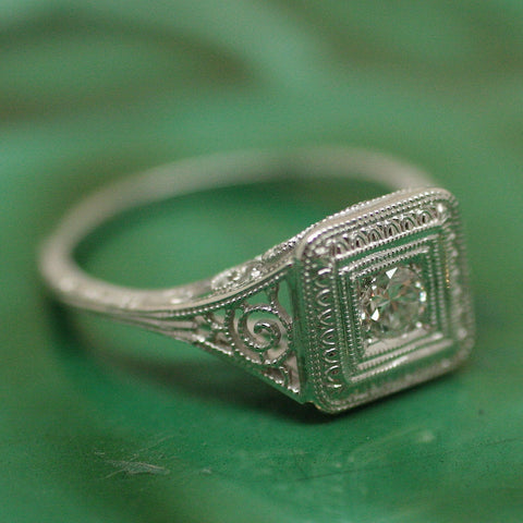 Circa 1920 18K Filagree Diamond Ring