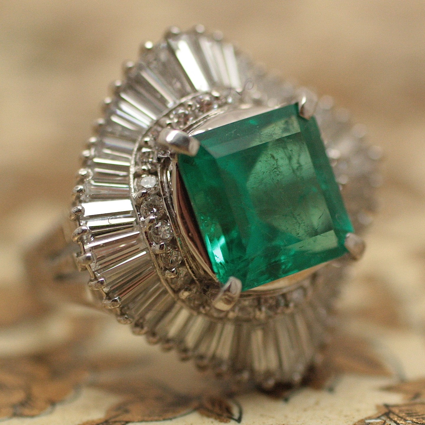 Mid-Century Emerald & Diamond Ring
