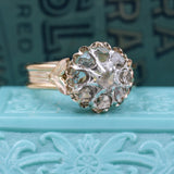 1860s Rose Cut Diamond Cluster Ring