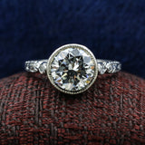c1930 Fancy Grey Diamond Platinum Buttercup Ring