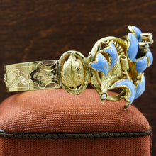 c1850 18k Blue Enamel Flower Bracelet with Belt Closure