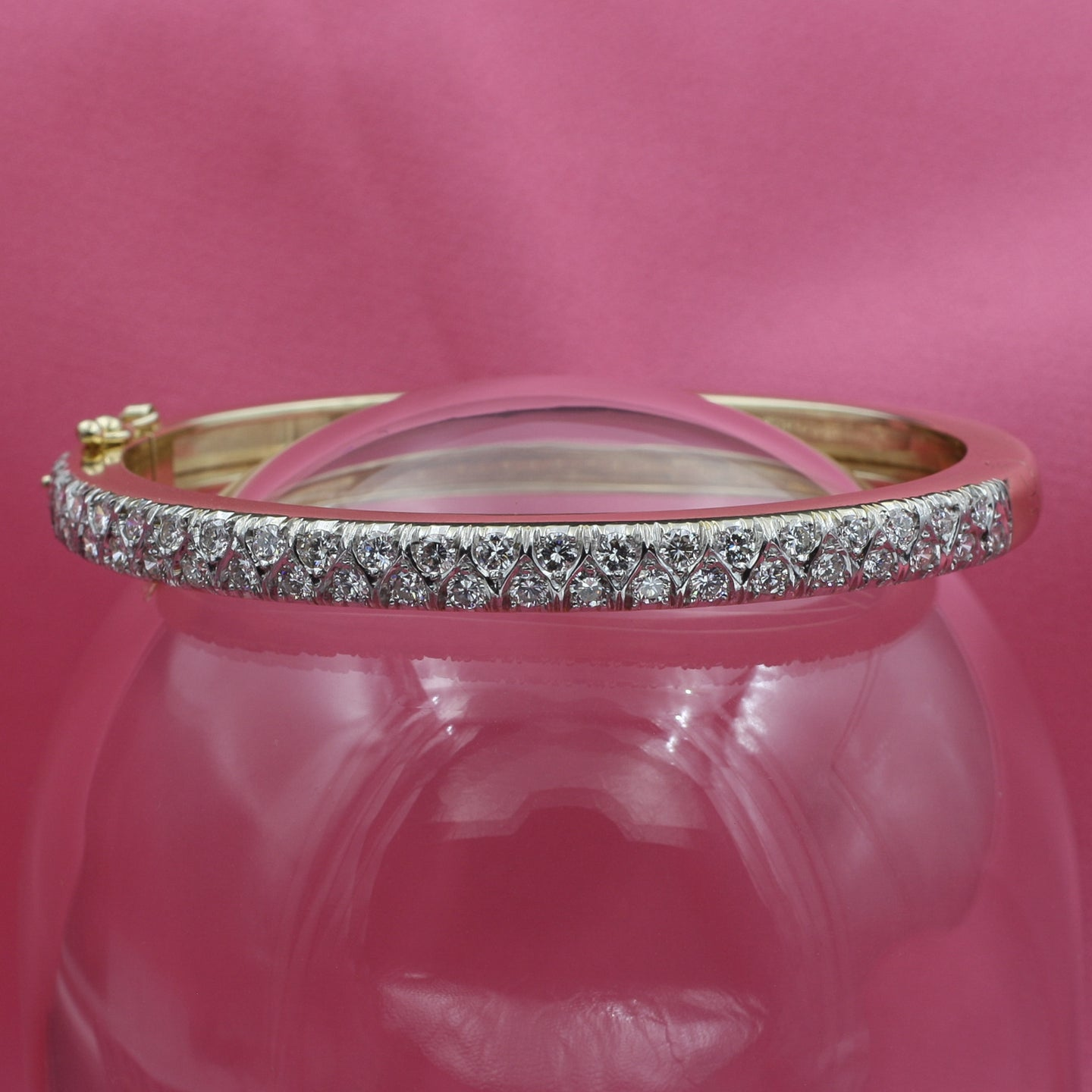 Full Cut Diamond Half Eternity Bangle c1970