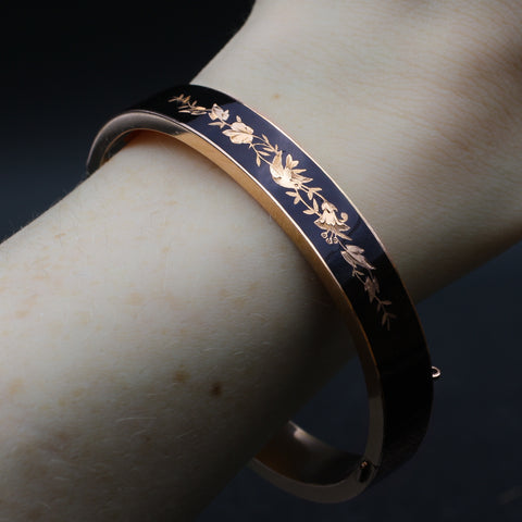 Victorian Black Enamel Swallow Bangle