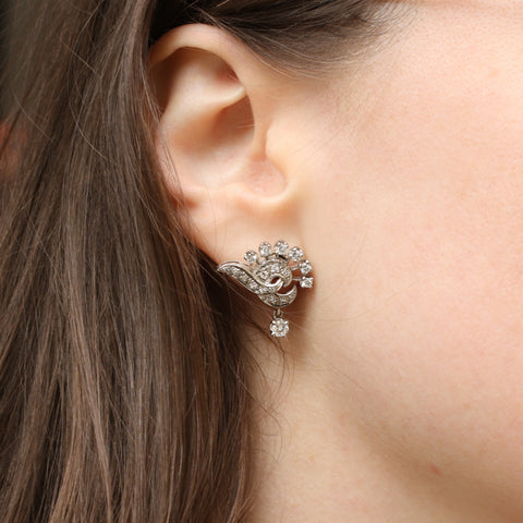Midcentury Diamond Spray Earrings