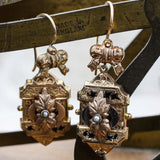 c1880 Taille D'epargne Pinchbeck and Rolled Gold Earrings