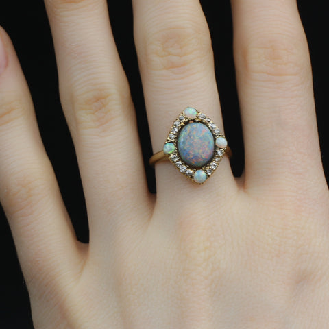 Black Opal and Old Mine Diamond Ring c1890
