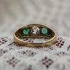 c1890 Old Mine Cut Diamond and Emerald Handcarved Ring