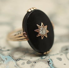 Circa 1930's Classic Onyx & Diamond Ring