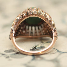 Circa 1930's 14K Persian Turqoise & Diamond Dome Ring