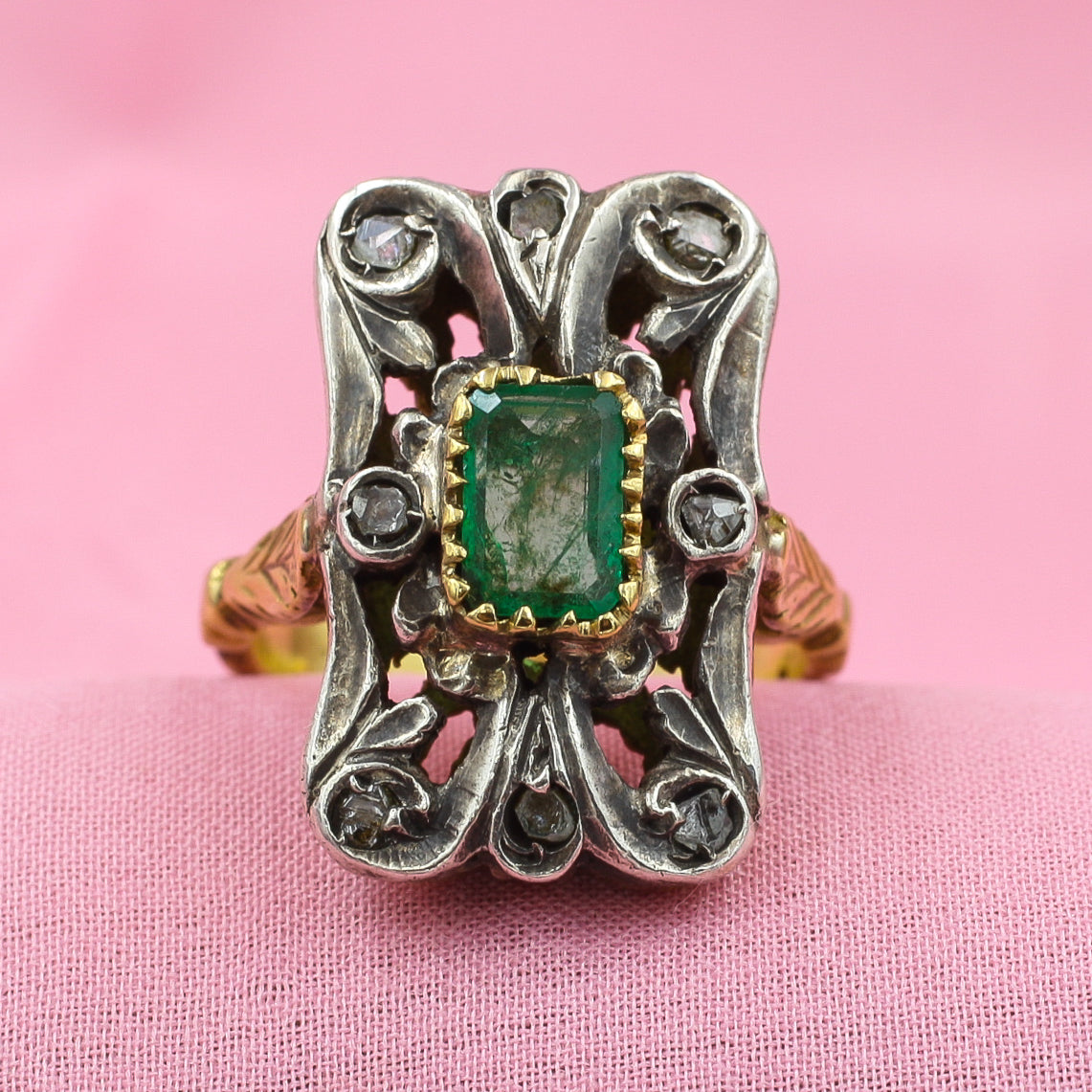 Georgian Revival Emerald Ring c1930