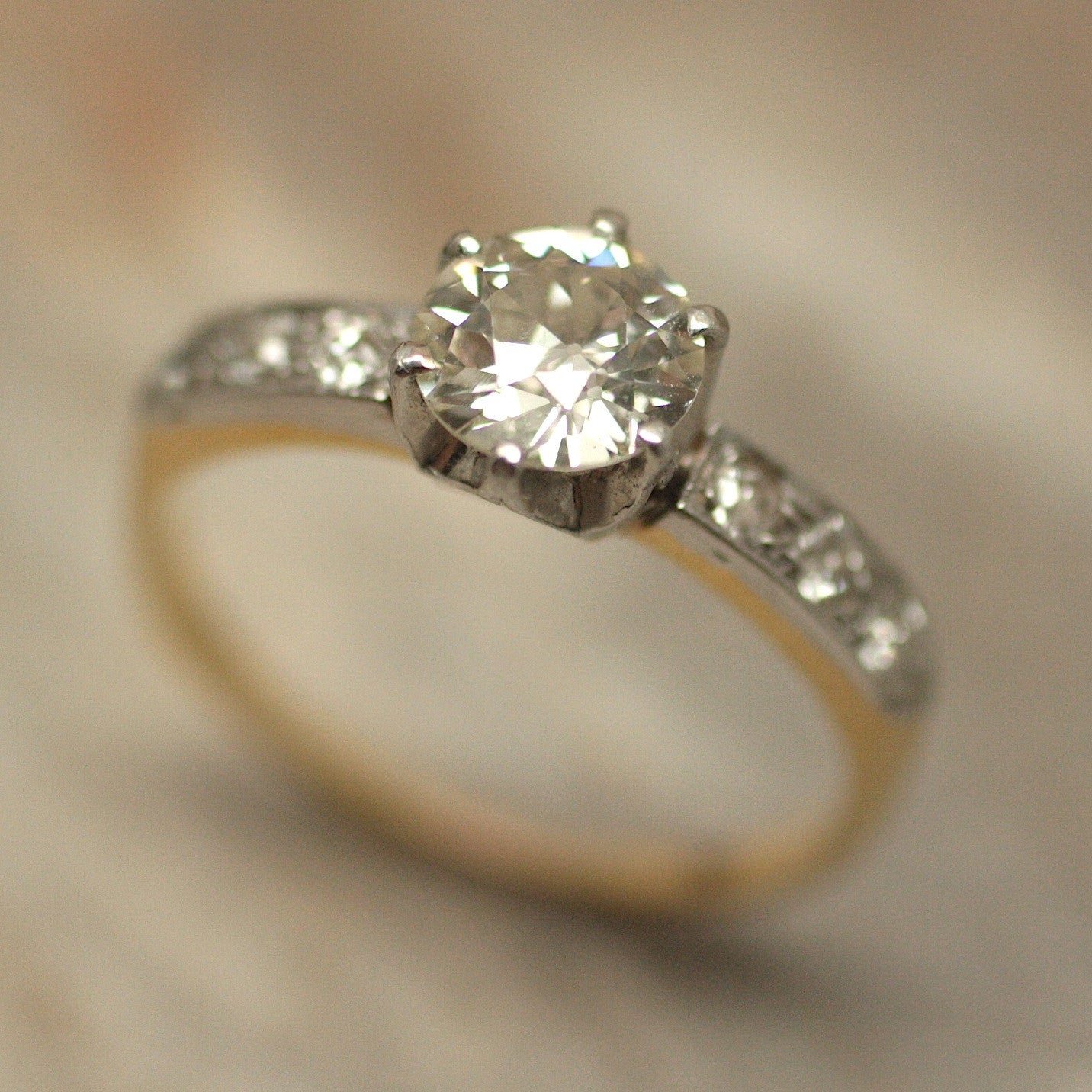 Circa 1920 18K&Platinum Diamond Engagement Ring