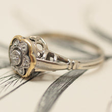 Circa 1900 Two-Tone Flower Shaped Diamond Ring