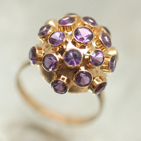 18K Gold & Amethyst Dome Ring