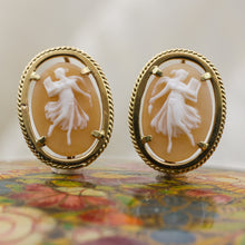 c1980 18k Italian Cameo Dancer Earrings