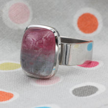 Modern Watermelon Tourmaline Cabochon Ring