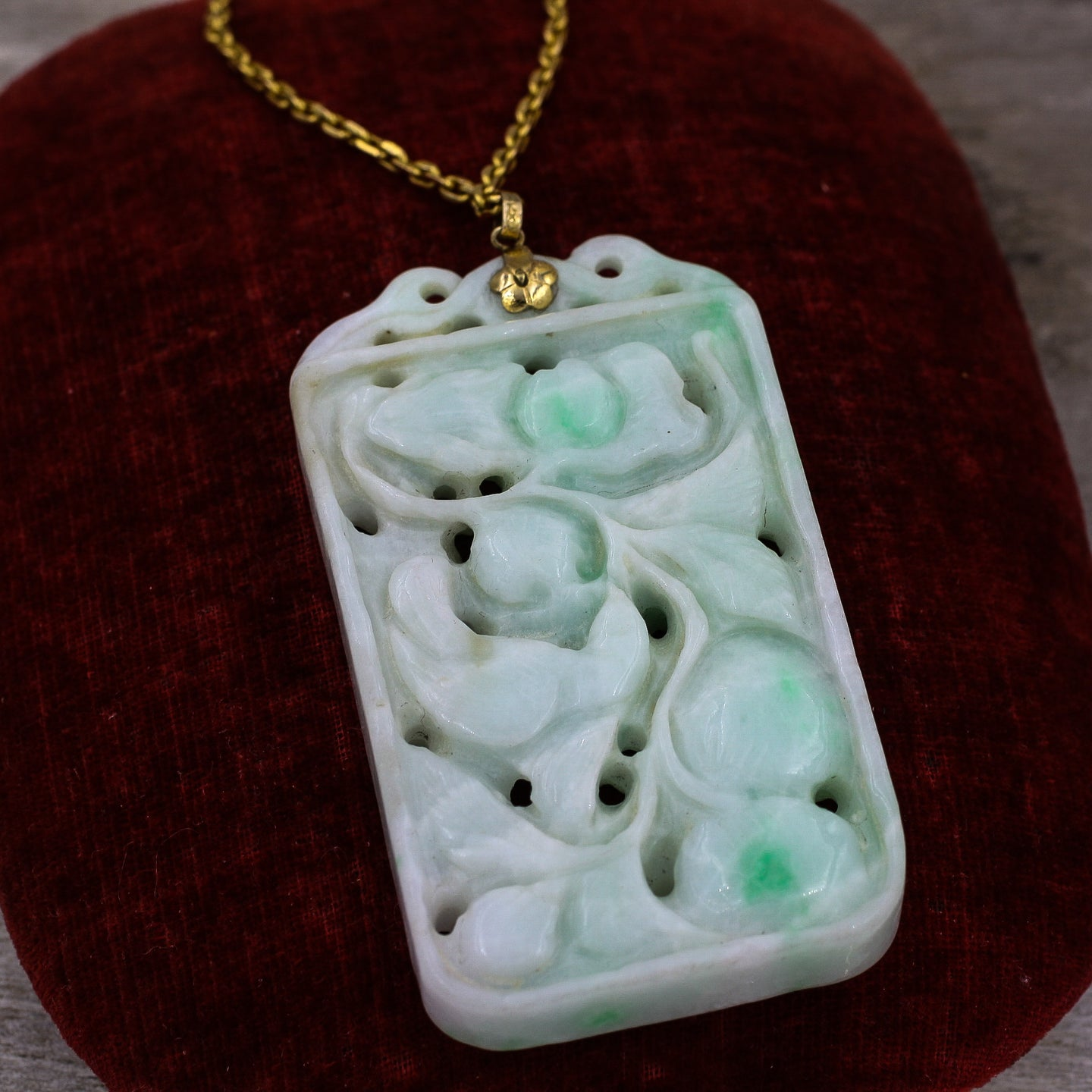 Carved Jade Pendant- Front View