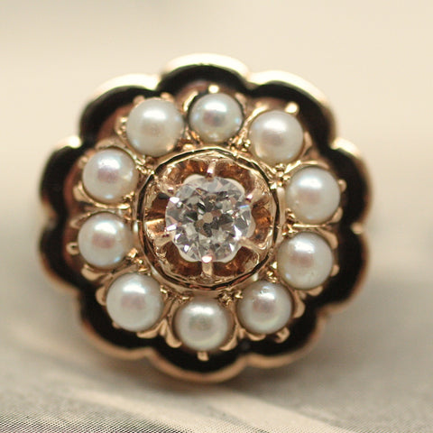 Circa 1930 Diamond, Pearl, and Enamel Ring