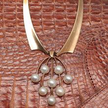 Mid-century 14K Danish Necklace with Akoya Cultured Pearls