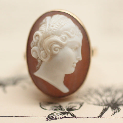 1950's-60's 14K & Carved Shell Cameo Ring