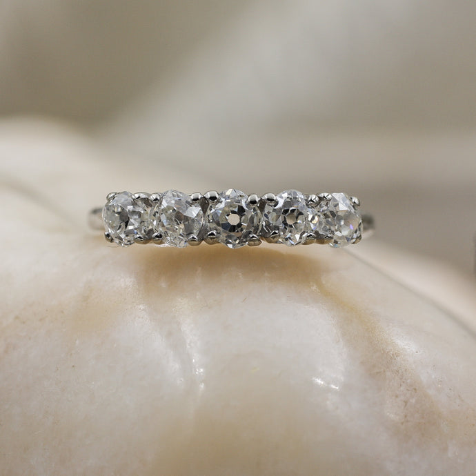 Old Mine Cut Diamond Platinum Band